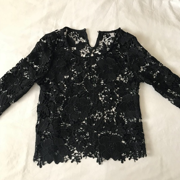 9ee6b9b465428f H&M Tops | Hm Black Long Sleeve Floral Lace Top | Poshmark
